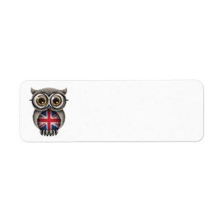Cute British Flag Owl Wearing Glasses Custom Return Address Labels