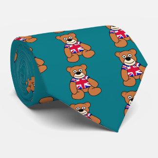 Cute British Flag Teddy Bear Tie