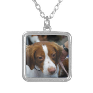 Cute Brittany Spaniel Silver Plated Necklace