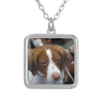 Cute Brittany Spaniel Square Pendant Necklace