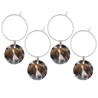Cute Brittany Spaniel Wine Glass Charms