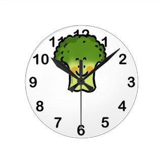 cute broccoli round wallclocks