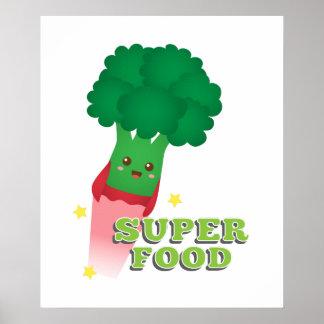 Cute Broccoli Vegetable, Super food Poster
