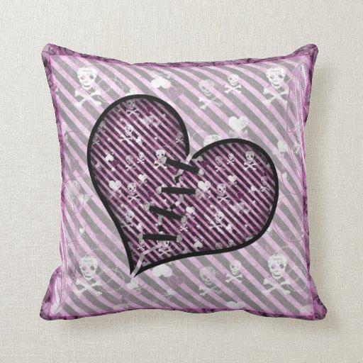 Cute Broken Heart & Skulls Pillow Zazzle