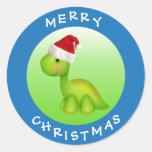 Cute Brontosaurus in Santa Hat Christmas Stickers