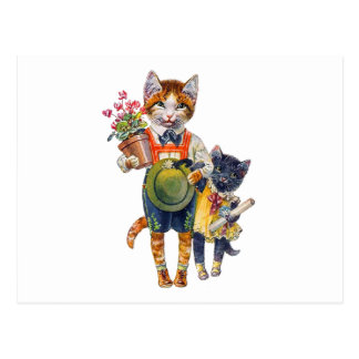 Cute Brother and Sister Kittens Delivering Gifts Postcard
