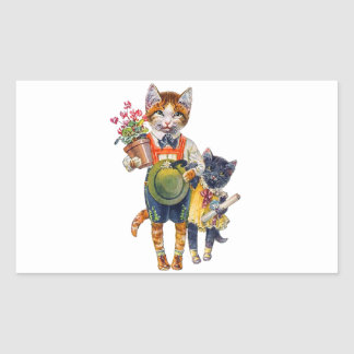 Cute Brother and Sister Kittens Delivering Gifts Rectangle Stickers