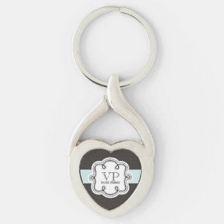 Cute Brown and Blue Girly Personalized Silver-Colored Heart-Shaped Metal Keychain