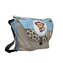 Cute Brown and Blue Safari Monkey Diaper Bag