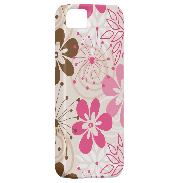 Cute brown and pink abstract spring flowers iPhone SE/5/5s case