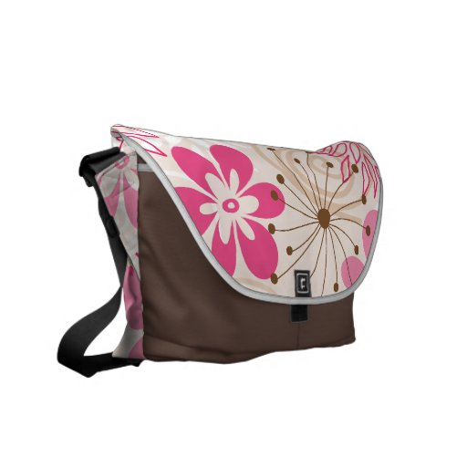 Cute brown and pink abstract spring flowers messenger bags