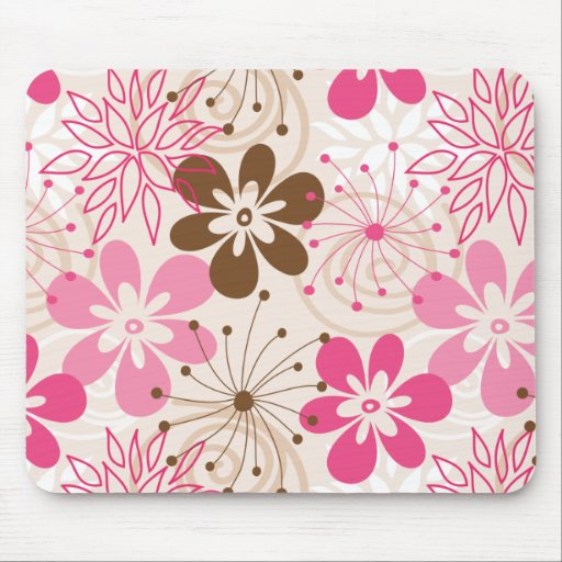 Cute brown and pink abstract spring flowers mouse pads