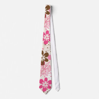Cute brown and pink abstract spring flowers neck tie