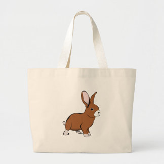 Cute Brown and White Bunny Rabbit Canvas Bags