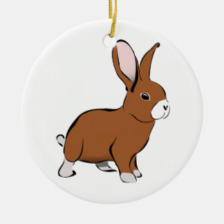 Cute Brown and White Bunny Rabbit Ceramic Ornament