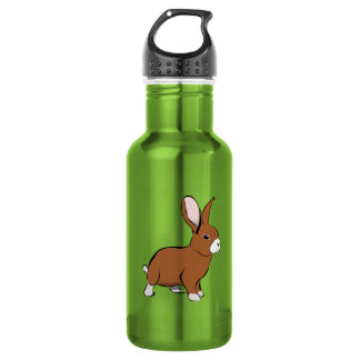 Cute Brown and White Bunny Rabbit 18oz Water Bottle