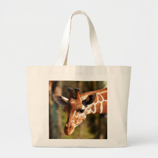 Cute Brown and White Giraffe Face Portrait Large Tote Bag