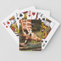 Cute Brown and White Giraffe Face Portrait Playing Cards