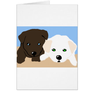 Cute brown and white Labrador puppy art gifts Greeting Cards