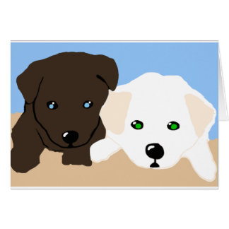 Cute brown and white Labrador puppy art gifts Greeting Card