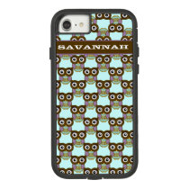 Cute Brown Aqua Purple Owl Pattern Choose Color Case-Mate Tough Extreme iPhone 8/7 Case