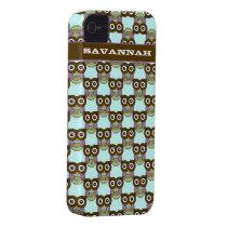 Cute Brown Aqua Purple Owl Pattern Choose Color iPhone 4 Case-Mate Case