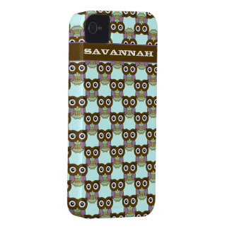 Cute Brown Aqua Purple Owl Pattern Choose Color iPhone 4 Case-Mate Case