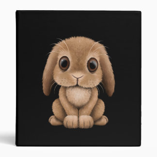 Cute Brown Baby Bunny Rabbit on Black Binder