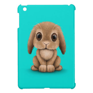 Cute Brown Baby Bunny Rabbit on Blue Case For The iPad Mini