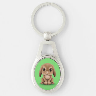 Cute Brown Baby Bunny Rabbit on Green Keychain