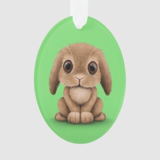 Cute Brown Baby Bunny Rabbit on Green Ornament