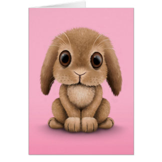Cute Brown Baby Bunny Rabbit on Pink Greeting Card