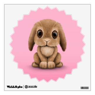 Cute Brown Baby Bunny Rabbit on Pink Room Graphics