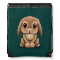 Cute Brown Baby Bunny Rabbit on Teal Blue Drawstring Backpack