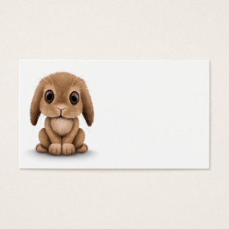 Cute Brown Baby Bunny Rabbit on White Business Card