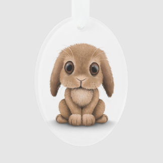Cute Brown Baby Bunny Rabbit on White Ornament