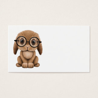 Cute Brown Baby Bunny Wearing Glasses Business Card