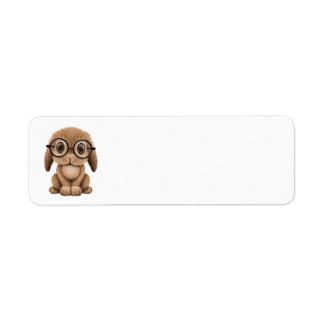 Cute Brown Baby Bunny Wearing Glasses Label