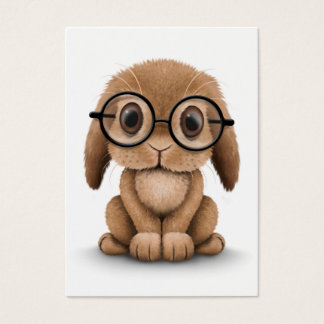 Cute Brown Baby Bunny Wearing Glasses on White Business Card