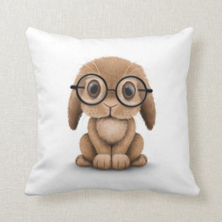 Cute Brown Baby Bunny Wearing Glasses on White Throw Pillow