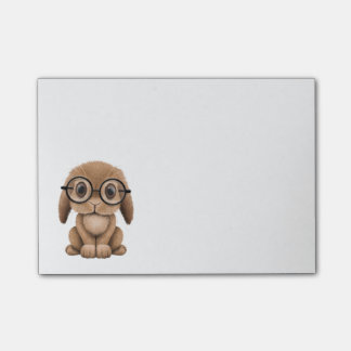 Cute Brown Baby Bunny Wearing Glasses Post-it Notes
