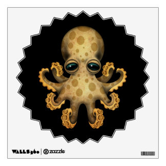 Cute Brown Baby Octopus on Black Wall Sticker