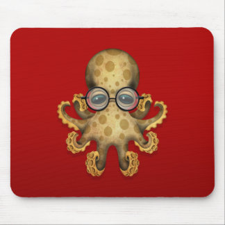 Cute Brown Baby Octopus Wearing Glasses on Red Mouse Pad
