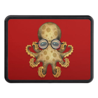 Cute Brown Baby Octopus Wearing Glasses on Red Tow Hitch Cover