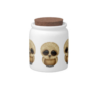 Cute Brown Baby Owl Chic Candy Jars