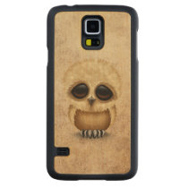 Cute Brown Baby Owl Chic on Aged Texture Carved Maple Galaxy S5 Slim Case