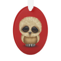 Cute Brown Baby Owl Chic on Red Ornament