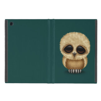 Cute Brown Baby Owl Chic on Teal Blue iPad Mini Cover