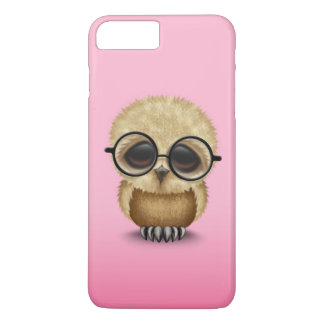 Cute Brown Baby Owl Wearing Glasses on Pink iPhone 8 Plus/7 Plus Case