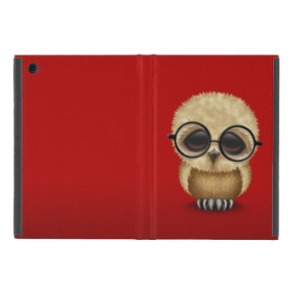 Cute Brown Baby Owl Wearing Glasses on Red Cover For iPad Mini